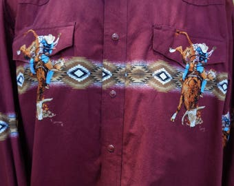 Vintage Men's Wrangler Pearl Snap Western Cowboy Shirt - Size XL - Farmhouse - Ranch - Bull Riding - Western Shirt - Father's Day