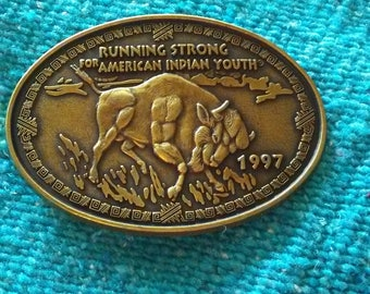 "Running Strong for American Indian Youth Belt Buckle 3 1/2"" x 2 1/2"""