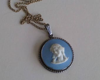Vintage Wedgewood Jasperware Blue and White Cameo Pendant Approx. 1""