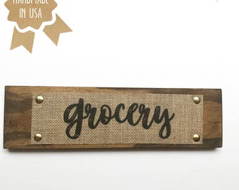 Grocery - WOOD BURLAP SIGN - Rustic Shabby Chic Kitchen Home Wall Art - Handmade