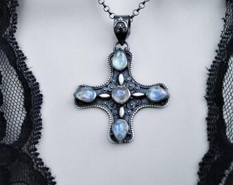 Moonstone necklace, moonstone pendant, cross pendant, moonstone cross, iron cross, oxidized silver necklace,gemstone cross,gothic