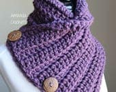 Crochet Button Cowl | Crochet Neckwarmer | Violet | Scarves & Wraps | Winter Accessory | Gift for Her | 3 Button Cowl | Ribbed Neckwarmer