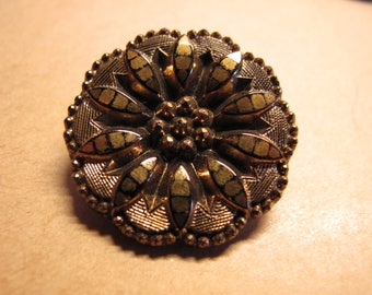 1  1890's gold glass button flower centre JAPANNED  and geometric pattern 30 mm diameter 050617/4