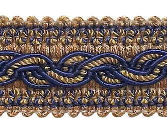 """Navy Blue Taupe  Baroque Collection Gimp Braid 1-1/4"""" Style# 0125bg Color  Navy Taupe - 5817  (sold by The Yard)"""