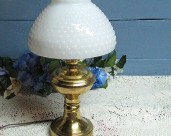 Brass Electric Lamp with Hobnail Milk Glass Globe ~ Parlor Lamp ~ Vintage Chic Brass Milk Glass Lamp ~ Cottage Decor