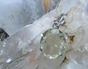 "Citrine ~ Silver ~ Pendant ~ Awesome ~ Vintage ~ Recycled ~ Unique  ~ 5/8"" X 7/8"""