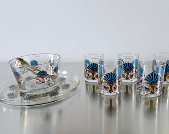 Vintage Culver Glassware Egyptian Revival Party Set