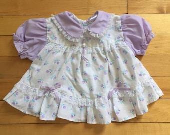 Vintage 1980s Baby Infant Girls Purple Floral Lace Dress! Size 3-6 months