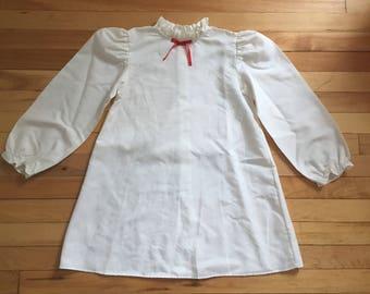 Vintage 1980s Girls White Polka Dot Ruffle Pinafore Dress! Size 6X