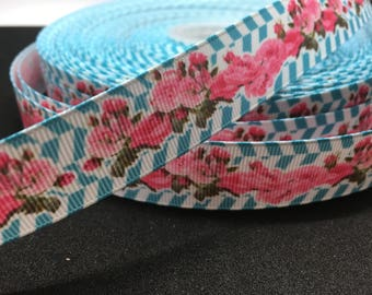 "3 yards 7/8"" Vintage Victorian feel rose garden grosgrain"