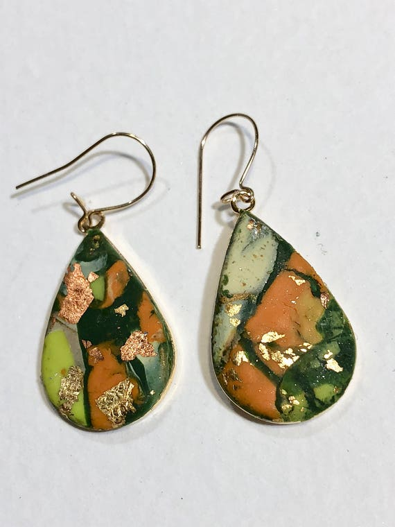 Earrings - multi color orange green yellow contemporary handmade polymer clay on drop shaped piece with 14 k gold plated ear wire