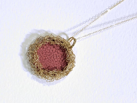 Necklace - gold plated wire crochet bezel for red enamel painted round copper disc reversible pendant and gold plated chain