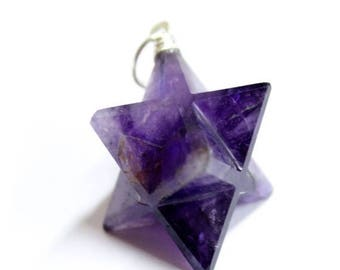 15% off Christmas in July Purple Amethyst Merkaba Star Pendant Silver Toned Bail (RK65B6-01)