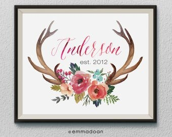 Personalized Family Name Print, Floral Last Name Print, Antlers Printable, Family Est Sign Print, Floral Antlers Print, Housewarming Gift