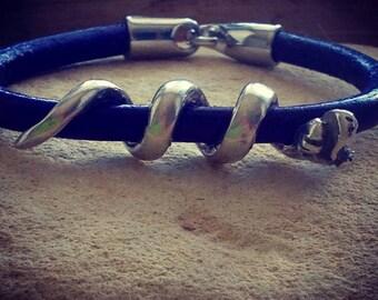Leather bracelet with silver Snake