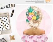 3 FOR 2. Blonde Girl Clipart, Summer Watercolor Digital Sticker, Fashion Planner Divider Idea, Pink Flamingo Watermelon, Fruit Fashionista.
