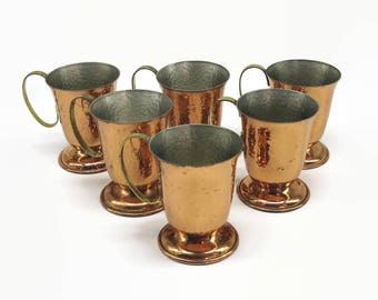 6 hammered copper mugs with brass handles and hammered silver metal interiors, Lang, Australia, circa 1970s