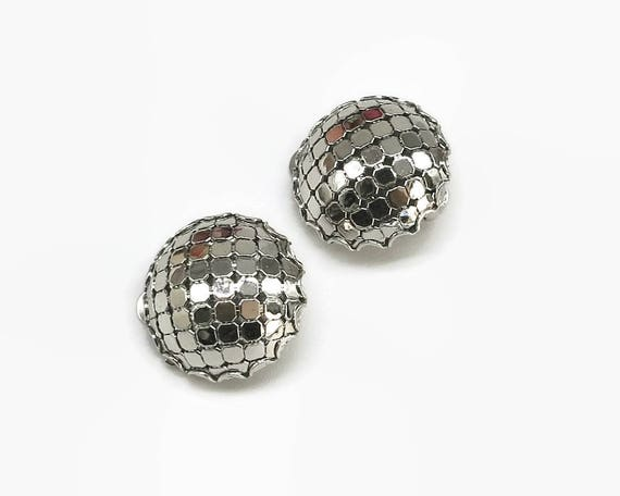 Whiting and Davis silver mesh clip on earrings, domed circles, circa 1960s, made United States