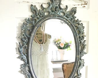 Shabby Chic Mirror, Blue Painted Nursery Mirror, Large Ornate, Vintage Wall  Hanging,
