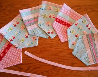 Fabric Pennant/Bunting Banner with Vintage Trailer Print