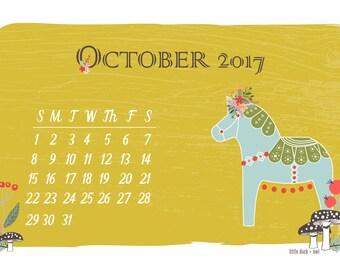 Woodland Dala Horse Instant Digital Download + October Desktop Calendar