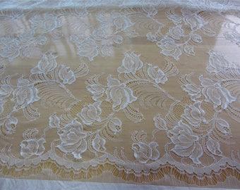 "Chantilly lace fabric,eyelash Lace Fabric ,off  White Chantilly Lace fabric  for wedding 59"" width 3 yards"