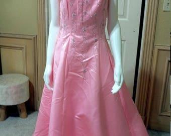 Michaelangelo Pink Evening dress Mermaid wedding party dress Long Satin Prom Dress Evening Dress satin Engagement Dress Party Dress S/ 6