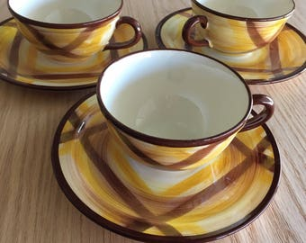 Vernonware Organdie flat cup and saucer yellow and brown plaid produced 1937 to 1958