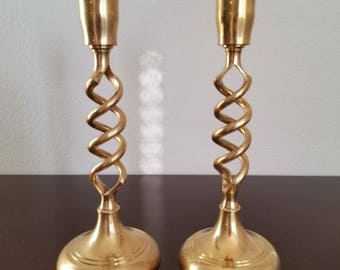 Brass Spiral Candlestick Holders Set of 2