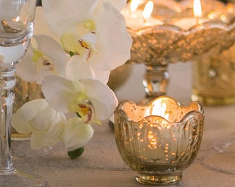 Gold Mercury Glass Tea Light Tealight Candleholder Candle Holder Gold Mercury Glass Distressed Votives Wedding Decor Centerpiece Centrepiece