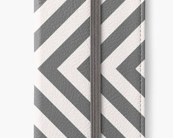 Folio Wallet Case for iPhone 8 Plus, iPhone 8, iPhone 7, iPhone 6 Plus, iPhone SE, iPhone 6, iPhone 5s -  Grey Stripes Chevron Case