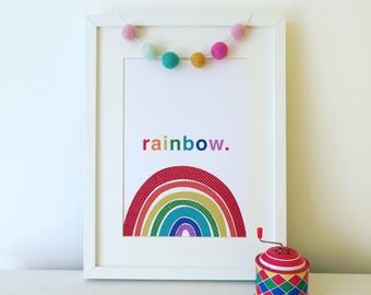 Rainbow Print, Rainbow Gift, Rainbow Artwork, Nursery Print, Children's Room Wall Art, Play Room Artwork, Nursery Decor.