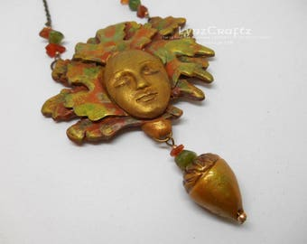 Oak Leaf Forest Spirit Fall Collection polymer clay jewelry handmade One of a Kind pendant necklace charms art