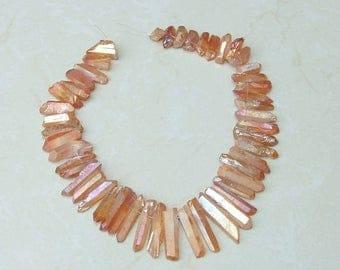 Peach Rose, Titanium Quartz, Titanium Crystal, Titanium Quartz Beads, Titanium Beads, Quartz Point - Full strand - 19 mm - 38 mm - 3641