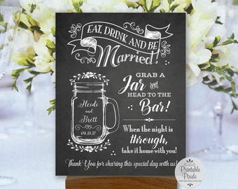 Mason Jar Printable Wedding Sign, Chalkboard Style, Grab A Jar Head to the Bar, Personalized with Names and Date (#MAS2C)