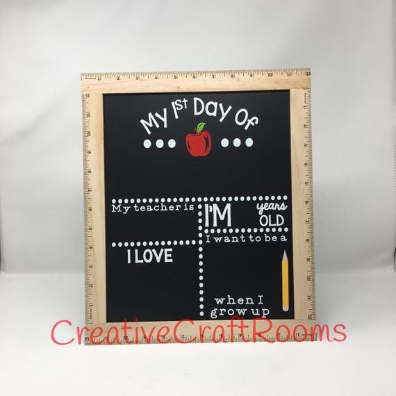 First Day Of School Sign, Ruler Framed First Day of School Chalkboard, Reusable Chalk Sign, Back To School Sign, First Day Of School Sign