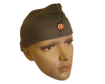 New East German army wool garrison cap side hat NVA DDR Soviet Era Communist forage GDR