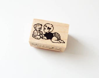 Baby and Teddy Bear / Original Rubber Stamp / Designed by Krimgen