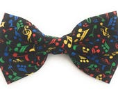 Music Note Bow Tie, black bow tie, self tie bow tie, pre tied bow tie