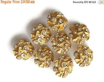 SUMMER SALE Vintage 80s shiny, small, round, golden BUTTONS