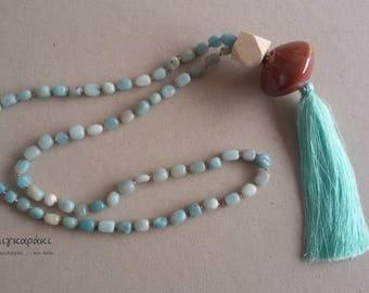 long necklace with amazonite stones, wooden bead, ceramic bead, silk tassel