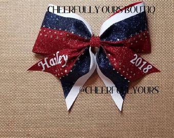 Best and Trending Customized Unique Sparkle Glitter Cheer Bow by Cheerfully Ours Boutiq