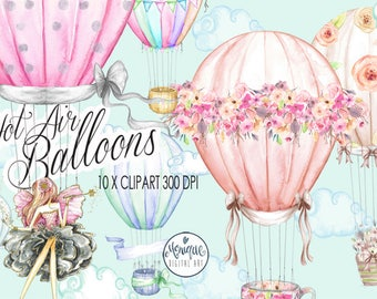 Hot Air Balloons Watercolor,Planner Clipart,Cute Balloons,Balloons Invitation,Party,Birthday,Printable, Planner Stickers,planner girl
