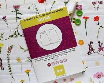 Sewing kit - Rosie single sided pinafore dress - Art Gallery Lavish petal design.