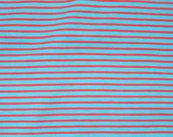 Fabric - cotton/elastane medium weight striped jersey fabric - turq/red - knit fabric.