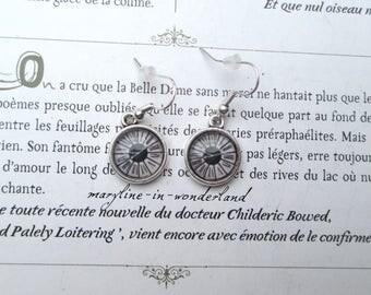 antique watch Cabochon silver Stud Earrings