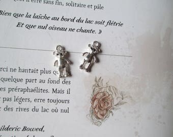 Set of 2 bear charms silver metal