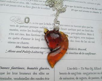 cute Fox necklace orange glass