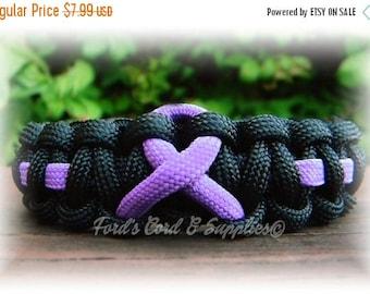 SALE Lavender/Violet Awareness Ribbon Bracelet, Paracord Bracelet, Epilepsy, Hodgkins Lymphoma, Cancer, Rett Syndrome, Testicular Cancer