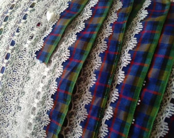 Tartan Ribbon Eyelet Lace, Flower of Scotland Tartan